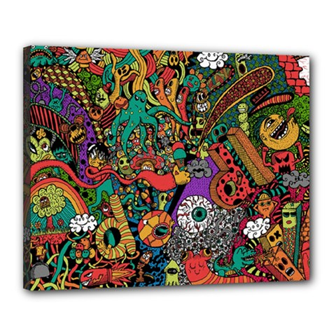 Monsters Colorful Doodle Canvas 20  X 16