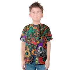 Monsters Colorful Doodle Kids  Cotton Tee