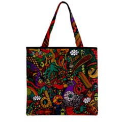 Monsters Colorful Doodle Grocery Tote Bag by Nexatart