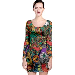 Monsters Colorful Doodle Long Sleeve Bodycon Dress