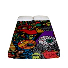 Monsters Colorful Doodle Fitted Sheet (full/ Double Size)