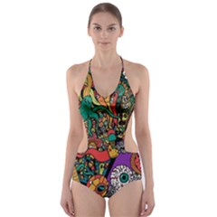 Monsters Colorful Doodle Cut Out One Piece Swimsuit