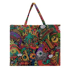 Monsters Colorful Doodle Zipper Large Tote Bag