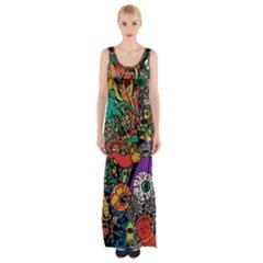 Monsters Colorful Doodle Maxi Thigh Split Dress
