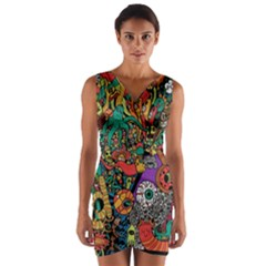 Monsters Colorful Doodle Wrap Front Bodycon Dress