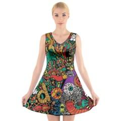 Monsters Colorful Doodle V Neck Sleeveless Skater Dress