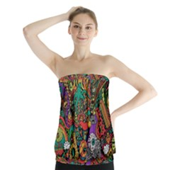 Monsters Colorful Doodle Strapless Top