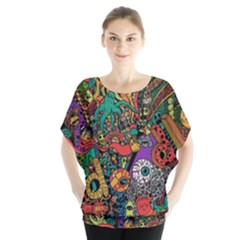 Monsters Colorful Doodle Blouse