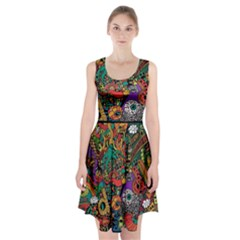 Monsters Colorful Doodle Racerback Midi Dress