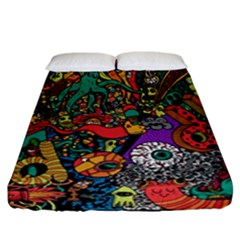 Monsters Colorful Doodle Fitted Sheet (california King Size)