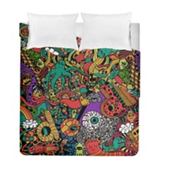 Monsters Colorful Doodle Duvet Cover Double Side (full/ Double Size)