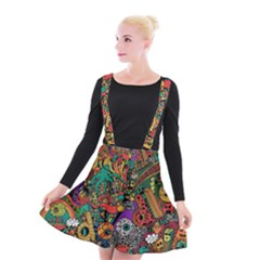 Monsters Colorful Doodle Suspender Skater Skirt
