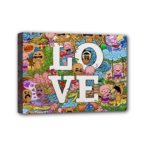 Doodle Art Love Doodles Mini Canvas 7  X 5