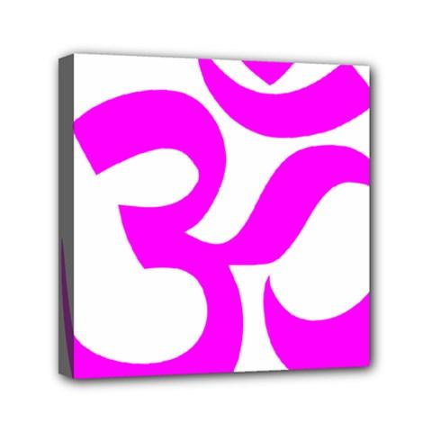 Hindu Om Symbol (magenta) Mini Canvas 6  X 6  by abbeyz71