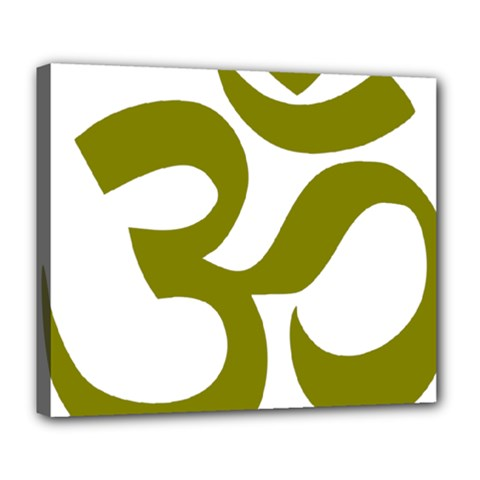 Hindu Om Symbol (olive) Deluxe Canvas 24  X 20   by abbeyz71