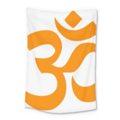 Hindu Om Symbol (orange) Small Tapestry by abbeyz71
