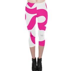 Hindu Om Symbol (deep Pink) Capri Leggings  by abbeyz71