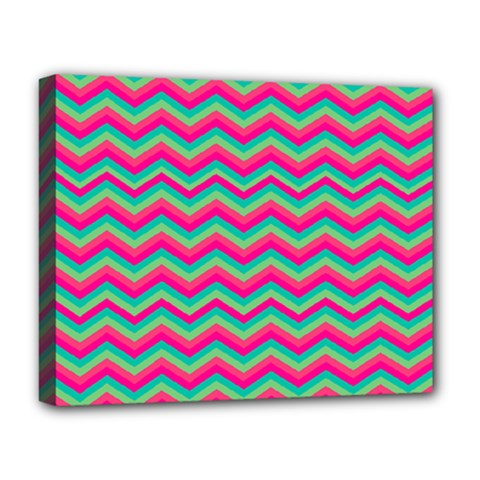 Retro Pattern Zig Zag Deluxe Canvas 20  X 16