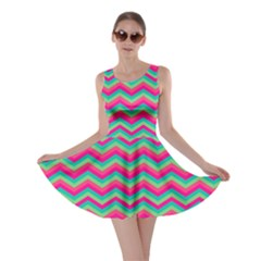 Retro Pattern Zig Zag Skater Dress