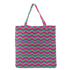Retro Pattern Zig Zag Grocery Tote Bag