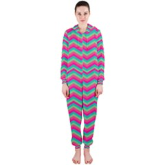 Retro Pattern Zig Zag Hooded Jumpsuit (ladies)