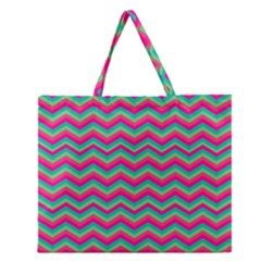 Retro Pattern Zig Zag Zipper Large Tote Bag by Nexatart