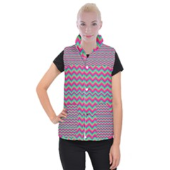 Retro Pattern Zig Zag Women s Button Up Puffer Vest
