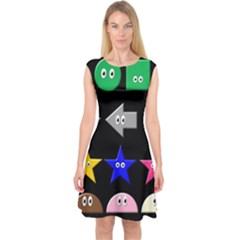 Cute Symbol Capsleeve Midi Dress