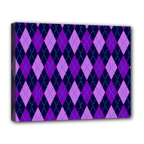 Static Argyle Pattern Blue Purple Canvas 14  X 11  by Nexatart