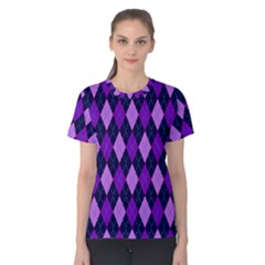 Static Argyle Pattern Blue Purple Women s Cotton Tee