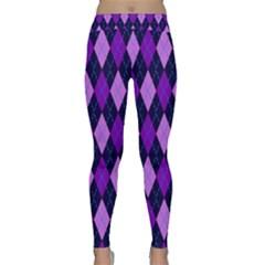 Static Argyle Pattern Blue Purple Classic Yoga Leggings