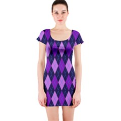 Static Argyle Pattern Blue Purple Short Sleeve Bodycon Dress