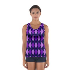 Static Argyle Pattern Blue Purple Women s Sport Tank Top