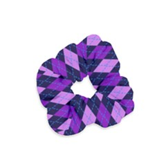 Static Argyle Pattern Blue Purple Velvet Scrunchie