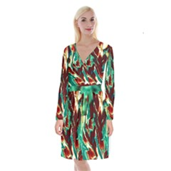 Brown Beige Marble Pattern Long Sleeve Velvet Front Wrap Dress by Costasonlineshop