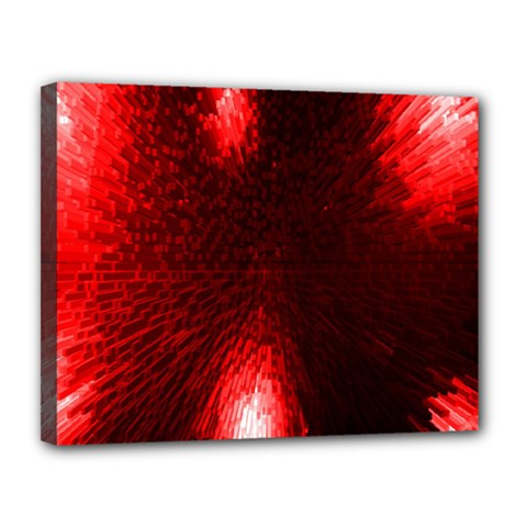 Box Lights Red Plaid Canvas 14  X 11  by Mariart