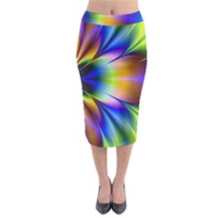 Bright Flower Fractal Star Floral Rainbow Midi Pencil Skirt by Mariart