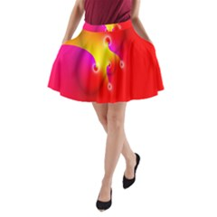 Complex Orange Red Pink Hole Yellow A Line Pocket Skirt by Mariart
