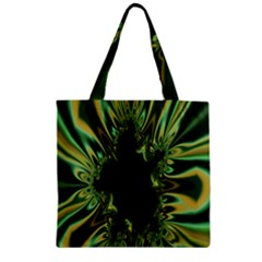 Burning Ship Fractal Silver Green Hole Black Zipper Grocery Tote Bag by Mariart