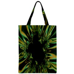 Burning Ship Fractal Silver Green Hole Black Zipper Classic Tote Bag by Mariart