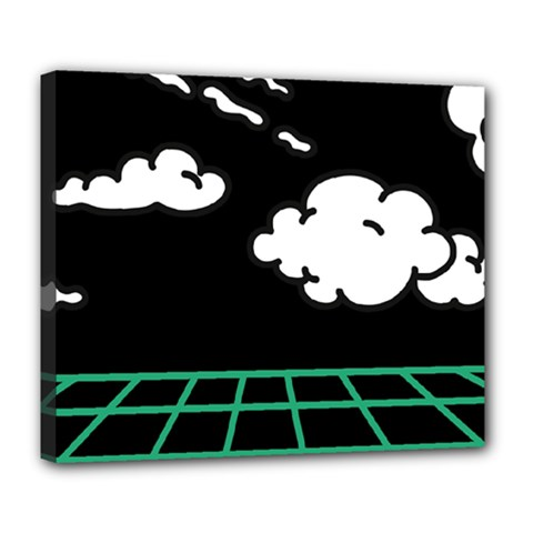 Illustration Cloud Line White Green Black Spot Polka Deluxe Canvas 24  X 20   by Mariart
