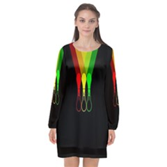 Lamp Colors Green Yellow Red Black Long Sleeve Chiffon Shift Dress