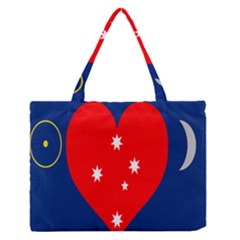Love Heart Star Circle Polka Moon Red Blue White Medium Zipper Tote Bag by Mariart