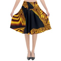 Hole Gold Black Space Flared Midi Skirt by Mariart