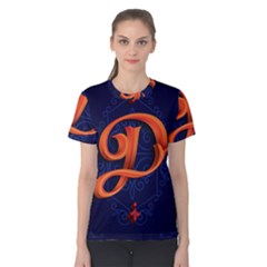 Marquis Love Dope Lettering Blue Red Orange Alphabet P Women s Cotton Tee by Mariart