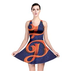 Marquis Love Dope Lettering Blue Red Orange Alphabet P Reversible Skater Dress by Mariart