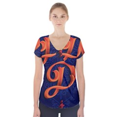 Marquis Love Dope Lettering Blue Red Orange Alphabet P Short Sleeve Front Detail Top by Mariart