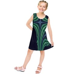 Line Light Star Green Black Space Kids  Tunic Dress