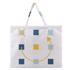Plaid Arrow Yellow Blue Key Zipper Large Tote Bag by Mariart