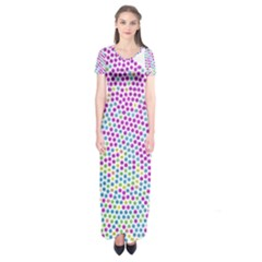 Japanese Name Circle Purple Yellow Green Red Blue Color Rainbow Short Sleeve Maxi Dress